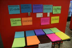 A table covered in stacks of colored paper with labels for areas of expertise